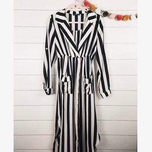 SHEIN • Black & White Striped Long Slv Maxi Dress